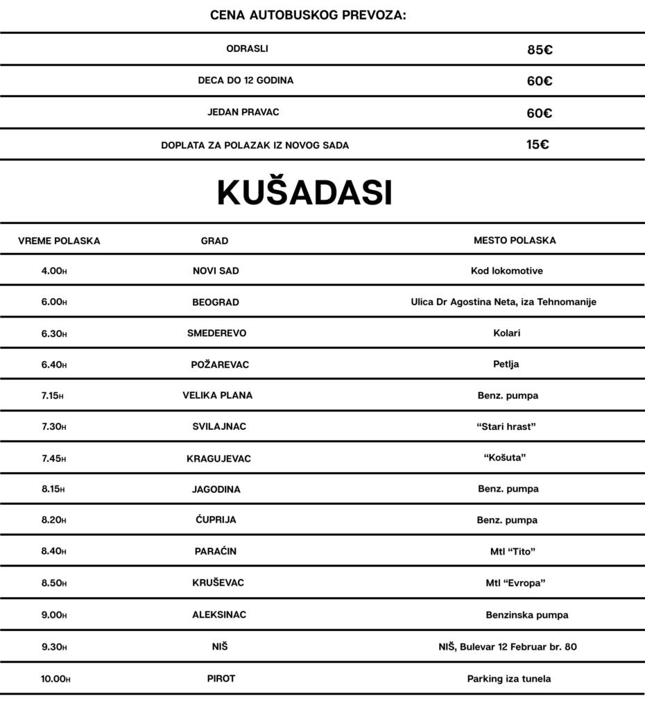Autobuski prevoz Kušadasi